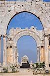 The ruins of the Basilica of St Simeon Stylites the Elder in the hills near Aleppo. St Simeon stood on top of a pillar for 30 years until his death in 459AD. The Basilica was built around the pillar,the remains of which can still be seen. Stock Photo - Premium Rights-Managed, Artist: AWL Images, Code: 862-03354827