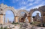 The ruins of the Basilica of St Simeon Stylites the Elder in the hills near Aleppo. St Simeon stood on top of a pillar for 30 years until his death in 459AD. The Basilica was built around the pillar,the remains of which can still be seen. Stock Photo - Premium Rights-Managed, Artist: AWL Images, Code: 862-03354829