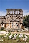 The ruins of the Basilica of St Simeon Stylites the Elder in the hills near Aleppo. St Simeon stood on top of a pillar for 30 years until his death in 459AD. The Basilica was built around the pillar,the remains of which can still be seen. Stock Photo - Premium Rights-Managed, Artist: AWL Images, Code: 862-03354833