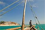 East Africa,Tanzania. Sailing an Arab dhow in Zanzibar. A dhow is a traditional Arab sailing vessel with one or more lateen sails. It is primarily used along the coasts of the Arabian Peninsula,India,and East Africa. Stock Photo - Premium Rights-Managed, Artist: AWL Images, Code: 862-03355255