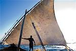 East Africa,Tanzania. Sailing an Arab dhow in Zanzibar. A dhow is a traditional Arab sailing vessel with one or more lateen sails. It is primarily used along the coasts of the Arabian Peninsula,India,and East Africa. Stock Photo - Premium Rights-Managed, Artist: AWL Images, Code: 862-03355257