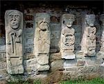 Carvings on stones in a church, White Island, Lough Erne, County Fermanagh, Northern Ireland