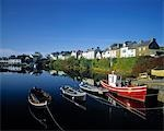 Boats moored at a harbor, Roundstone Harbor, Connemara, County Galway, Republic Of Ireland Stock Photo - Premium Rights-Managed, Artist: IIC, Code: 832-03358573