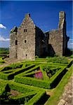 High angle view of a garden in front of a castle, Tully Castle, County Farming, Northern Ireland Stock Photo - Premium Rights-Managed, Artist: IIC, Code: 832-03358621