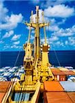 Container Ship;  View to the water from a container ship Stock Photo - Premium Rights-Managed, Artist: IIC, Code: 832-03359014