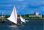 Dunguaire Castle, Co Galway, Ireland; Traditional Galway hookers racing during Kinvara Regatta Stock Photo - Premium Rights-Managed, Artist: IIC, Code: 832-03359026