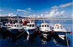Boats lined up at pier, Portmagee, County Kerry, Ireland Stock Photo - Premium Rights-Managed, Artist: IIC, Code: 832-03359181