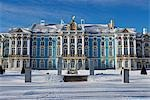 Russia,St Petersburg,Tsarskoye Selo (Pushkin). Catherine Palace was commissioned by the Empress Elizabeth and built by the Italian architect Rastrelli,and was finally finished in 1756. During the reign of Catherine the Great,the interior of one wing was redesigned by the Scottish architect Charles Cameron who also constructed a number of additional buildings in the extensive park. Stock Photo - Premium Rights-Managed, Artist: AWL Images, Code: 862-03361045
