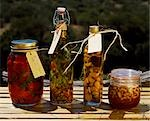 Jars of oils and preserved peppers and nuts at Kwandwe Lodge. Stock Photo - Premium Rights-Managed, Artist: AWL Images, Code: 862-03361127
