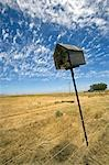 South Africa,Western Cape,Swartland,Darling. An abandoned bird box leaning lazily to one side on farmland near the small town of Darling. Stock Photo - Premium Rights-Managed, Artist: AWL Images, Code: 862-03361261