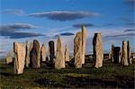 Sunset over the central circle at Callanish. An ancient stone circle dating back to Neolithic times,Callanish is the most dramatic prehistoric site in the Hebrides and is sometimes referred to as the Stonehenge of Scotland Stock Photo - Premium Rights-Managed, Artist: AWL Images, Code: 862-03361357