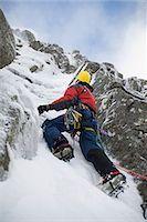extreme terrain - Scotland,Scottish Highlands,Glencoe. Ice Climbing on the cliffs of Aonach Mor. Stock Photo - Premium Rights-Managednull, Code: 862-03361566