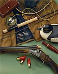 Studio Still Life of Fly Fishing & Hunting Gear Stock Photo - Premium Rights-Managed, Artist: AlaskaStock, Code: 854-03361744