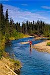 Man fly fishing for grayling, Jack Creek, Wrangell Saint Elias National Park, Southcentral Alaska, summer Stock Photo - Premium Rights-Managed, Artist: AlaskaStock, Code: 854-03361750