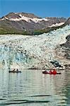 Two couples kayaking in Upper Shoup Bay with Shoup Glacier background, Shoup Bay State Marine Park, Prince William Sound, Alaska Stock Photo - Premium Rights-Managed, Artist: AlaskaStock, Code: 854-03361781