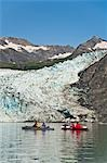 Two couples kayaking in Upper Shoup Bay with Shoup Glacier background, Shoup Bay State Marine Park, Prince William Sound, Alaska Stock Photo - Premium Rights-Managed, Artist: AlaskaStock, Code: 854-03361784