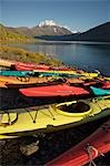 Rental kayaks ashore at Eklutna Lake in Chugach State Park, Alaska Stock Photo - Premium Rights-Managed, Artist: AlaskaStock, Code: 854-03361793