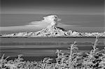 Infrared image of Mt. Redoubt volcano with a large plume of steam and ash venting, Alaska Stock Photo - Premium Rights-Managed, Artist: AlaskaStock, Code: 854-03362285