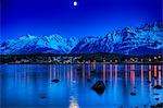 View of moonrise over Haines from Portage Cove, Southeast Alaska, Summer Stock Photo - Premium Rights-Managed, Artist: AlaskaStock, Code: 854-03362387