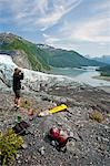 Male hiker overlooks Shoup Glacier and Upper Shoup Bay in the Shoup Bay State Marine Park, Prince William Sound, Alaska Stock Photo - Premium Rights-Managed, Artist: AlaskaStock, Code: 854-03362451