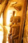 Detail of wood carving on support posts to traditional meeting area in the Dogon Village of Sanga on top of the Bandiagara plateau designated a UNESCO World Heritage Site in 1989 Stock Photo - Premium Rights-Managed, Artist: AWL Images, Code: 862-03364075