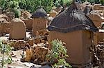 Mali,Dogon Country. An attractive Dogon village on top of the Bandiagara escarpment. Dwellings have flat roofs while the square granaries have pitched thatched roofs. Stock Photo - Premium Rights-Managed, Artist: AWL Images, Code: 862-03364176