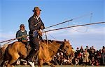 Mongolia,Karakorum. Horse herders (Arat) with their Urgas (lasso poles) gather for a Horse Festival in Karakorum,the old Imperial Capital of Mongolia. Stock Photo - Premium Rights-Managed, Artist: AWL Images, Code: 862-03364532