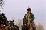 Mongolia,Khentii Province. Horse Herder on the move. Stock Photo - Premium Rights-Managed, Artist: AWL Images, Code: 862-03364535