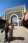 Two women walk through the Bab Bou Jeloud,the principle entrance into the old medina in Fez,Morocco. Stock Photo - Premium Rights-Managed, Artist: AWL Images, Code: 862-03364621