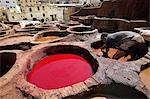A man working in the tanneries in Old Fez,Morocco. In the white pits,animal hides are soaked for a week in lime and bird droppings to bleach the skin and remove the hair. The skins are then moved to the brown pits where they are coloured using natural dyes. Stock Photo - Premium Rights-Managed, Artist: AWL Images, Code: 862-03364625