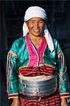 Myanmar. Burma. Wanpauk village. A Palaung woman of the Tibetan-Myanmar group of tribes. Women commonly display their wealth by wearing broad silver belts. Stock Photo - Premium Rights-Managed, Artist: AWL Images, Code: 862-03365205
