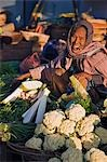 Myanmar,Burma,Rakhine State. A woman smoking a cheroot sells fresh vegetables at a stall at Sittwe's bustling open-air market. Stock Photo - Premium Rights-Managed, Artist: AWL Images, Code: 862-03365275