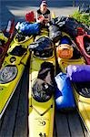 Norway,Nordland,Helgeland,Rodoy Island. Sea kayak expedition equipent laid out on a wooden deck at the end of an voyage Stock Photo - Premium Rights-Managed, Artist: AWL Images, Code: 862-03365723
