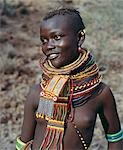 A young Turkana girl adorned with necklaces of a style the Southern Turkana prefer to wear. Stock Photo - Premium Rights-Managed, Artist: AWL Images, Code: 862-03366113