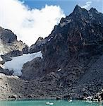 Tyndall Tarn,14,900 feet,nestles beneath the peaks of Mount Kenya - the highest,Batian,is 17,058 feet and on its right is Nelion at 17,022 feet. The glaciers are fast diminshing due to global warming. Stock Photo - Premium Rights-Managed, Artist: AWL Images, Code: 862-03366228