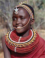 A pretty Samburu girl in traditional attire. Stock Photo - Premium Rights-Managednull, Code: 862-03366588
