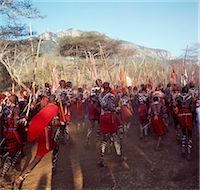 Africa,Kenya,Kajiado District,Ol doinyo Orok. A large gathering of Maasai warriors dance with raised sticks after they return from daubing themselves with white clay during an Eunoto ceremony when the warriors become junior elders and thenceforth are permitted to marry Stock Photo - Premium Rights-Managednull, Code: 862-03366854