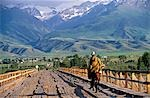 Kyrgyzstan,At-Bashi. Kyrgyz shepherd crossing a wooden bridge. At-Bashi,a small rural town,was said to have been built on top of settlements dating back to 8th century. It is considered to be one of the best places to see and buy Shyrdaks (felt carpets). Stock Photo - Premium Rights-Managed, Artist: AWL Images, Code: 862-03367046