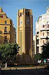 The clocktower in the Place d'Etoile in downtown Beirut,Lebanon. Destroyed during the 16 year civil war,it was rebuilt in the late 1990s. The parliament building is opposite. Stock Photo - Premium Rights-Managed, Artist: AWL Images, Code: 862-03367113