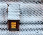 Snow-covered Roof with Window, Rothenburg ob der Tauber, Bavaria, Germany