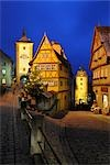 Ploenlein Street with Siebers Tower at Dusk, Rothenburg ob der Tauber, Bavaria, Germany Stock Photo - Premium Rights-Managed, Artist: Raimund Linke, Code: 700-03368539