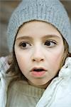 Girl wearing winter clothes, close-up, portrait