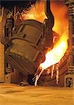 Steel factory, cast iron smelting, sparks flying Stock Photo - Premium Royalty-Free, Artist: Arcaid, Code: 695-03381561