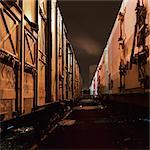 Freight trains at night, close-up Stock Photo - Premium Royalty-Free, Artist: GreatStock, Code: 695-03387303