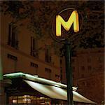 France, Paris, metro sign at night, low angle Stock Photo - Premium Royalty-Free, Artist: Minden Pictures, Code: 695-03387317