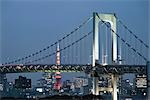 Rainbow Bridge and Tokyo Tower, Tokyo, Kanto Region, Honshu, Japan Stock Photo - Premium Rights-Managed, Artist: Rudy Sulgan, Code: 700-03392427
