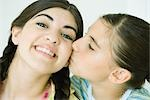 Two young female friends, one kissing the other on the cheek Stock Photo - Premium Royalty-Free, Artist: Masterfile, Code: 696-03394064