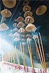 Incense burning in Chinese temple, low angle view Stock Photo - Premium Royalty-Freenull, Code: 696-03394953