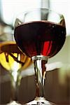 Red wine and white wine in glasses, low angle view