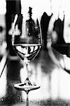 Wine glass on bar counter